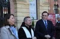 José Carlos Gómez Villamandos y Rosario Moyano Salvago durante el desarrollo del acto