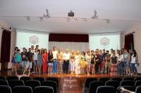 Foto de familia de los participantes en los cursos de Arqueología en el Ager Mellariensis-Alto Guadiato Arqueológico