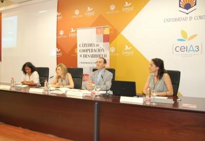 De izquierda a derecha, Claudia Usuga, Rosario Mérida, Antonio Jesús Rodríguez y Teresa González-Caballos.