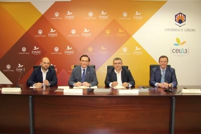 De izquierda a derecha, Enrique Quesada Moraga, José Carlos Gómez Villamandos, Bartolomé Madrid Olmo y Eulalio Fernández Sánchez, en el acto de firma del acuerdo.