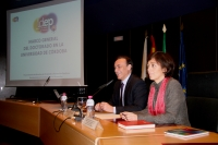 De izquierda a derecha, José Carlos Gómez y Mª del Mar Delgado en la inauguración del curso dirigido a directores de tesis