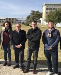 De izquierda a derecha de la imagen, Dolores Esquivel, César Jiménez, José Rafael Ruiz y Daniel Cosano, del Departamento de Química Orgánica de la UCO y autores del estudio.