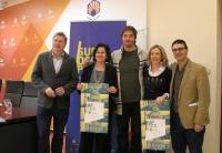 De izquierda a derecha, Álvaro Rodríguez, May Silva, Pablo Rabasco, Ana Melendo y Pablo García Casado, en la presentación de la nueva edición de Suroscopia