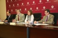 Cubero, Roldán, Carrillo y Cantador durante su intervención