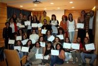 Los alumnos con sus diplomas