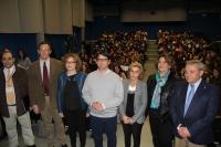 Autoridades que han intervenido en el acto de presentación de las jornadas en la Facultad de Ciencias del Trabajo.