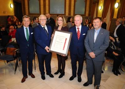 De izquierda a derecha, Rafael Jordano, Manuel Jiménez, Julieta Mérida, Javier Martín y Rafael Moreno.