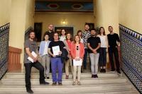 Foto de familia de autoridades y premiados en UCOpoética2017