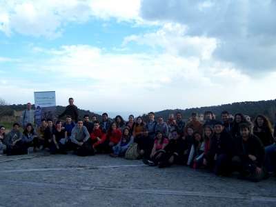 Foto de familia de la visita al Parque Natural de las Sierras de Cardeña y Montoro