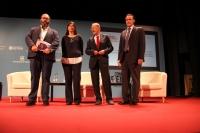 De izquierda a derecha, Antonio Hernández Rodicio, María Blasco, Javier Solana y José Carlos Gómez Villamandos