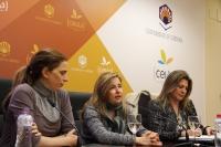 De izquierda a derecha, Lola de Toro, Rosario Mérida y Julia Romero en la rueda de prensa para presentar las actividades con motivo del 8 de marzo.