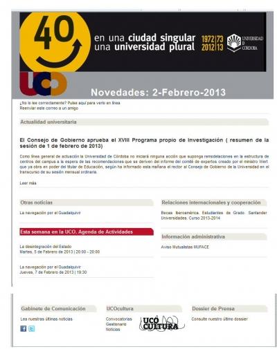 El Boletín de Novedades de la UCO llega a su edición número 500