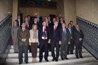 Rectores, directivos del Santander y autoridades académicas momentos antes de comenzar el acto