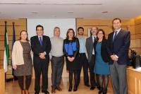De izquierda a derecha, Teresa Pineda, Manuel Blázquez, José Díz, Julieta Mérida, Francisco Javier Sánchez, José Manuel Sevilla, María Dolores Calzada y Rafael Rodríguez.