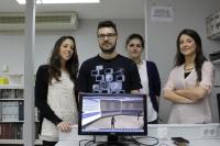 Purificación Alarcón, Juanjo Martínez, Carmen Beato y Cristina Pérez (de izquierda a derecha), creadores del mundo virtual empleado en la asamblea general de la división de suelo de la Unión Europea de Geociencias