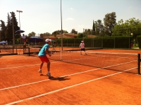 Partido de dobles de la UCO en tenis masculino frente a Jurja Dobrila U. Pula de esta mañana