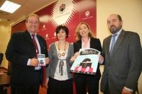 Juan Antonio Caballero, Carmen Blanco, Mª Carmen Liñán y Manuel Torres en la presentación de las actividades de Abril en la Biblioteca