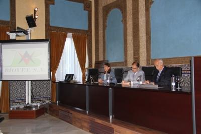 De izquierda a derecha, Rosario Moyano, Librado Carrasco y Jaime Borrell, en la inauguración de Biovet