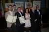 Los premiados junto a directivos universitarios, colegiales y de la Fundación Barclays