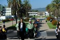 La comitiva llega al Salón de Actos Juan XXIII