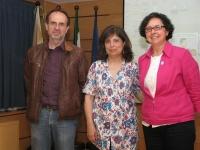 De izq a dcha Luis Camacho, Salette Reis y Teresa Roldán