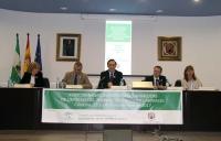 De izquierda a derecha, Julia Muñoz, Javier Carnero, José Carlos Gómez Vilamandos, Ángel Javier Gallego y Carmen Sáez en el acto inaugural de las jornadas.