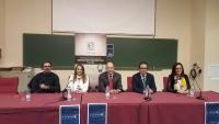 Autoridades asistentes al acto de bienvenida a los participantes en la olimpiada matemática