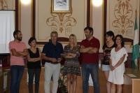 Autoridades asistentes a la clausura del curso de Arqueología celebrado en Belmez