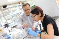 El investigador de la Departamento de Química Inorgánica e Ingeniería Química de la Universidad de Córdoba Gregorio Ortiz ayuda a Bai Xue, de la Universidad de Ciencia y Tecnología de Pekín, durante una práctica