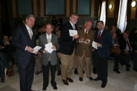 De izq a dcha, Fernando López Mora,Antonio Rodero, Jose Manuel Roldán, Diego Santiago y Librado Carrasco momentos antes de la presentación del libro.