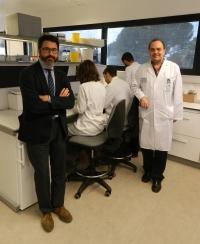 Los dermatólogos Juan Ruano y Antonio Vélez, junto al equipo de investigadores