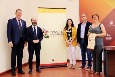 Eulalio Fernández, Luis Medina, José Luis, Carmen Mº Gómez y Eva Sánchez en la presentación a los medios del Programa Cónsules de Córdoba 2018-2019