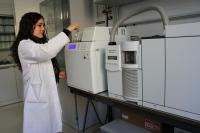 La investigadora María José Cardador trabaja con una muestra de queso en un cromatógrafo instalado en el campus de Rabanales