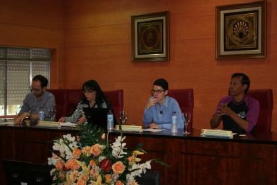 De izquierda a derecha, Antonio Raigón, Antonia Ramírez, Nuria Magaldi y Fernando Caray, durante la presentación del Campamento Pedagógico.