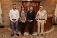 Guillermo Beltrán (Director General Adjunto), Rosario Moyano (Decana de la Facultad de Veterinaria), Salud Serrano (Vicedecana de la Facultad de Veterinaria) y Sergio Ledesma (Director de Calidad) en las instalaciones de FAMADESA en Campanillas (Málaga).