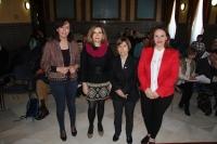 De izquierda a derecha, MaríaLuisa Ceballos, Rosario Mérida, Rosa Huguet y Aurora Barbero al inicio de las jornadas