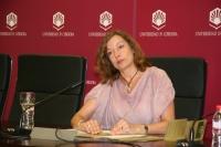 Anabel Carrillo durante la rueda de prensa