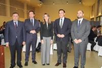 De izquierda a derecha, Francisco Zurera, Ricardo Domínguez, Rosa Gallardo, José Carlos Gómez Villamandos y Enrique Quesada al inicio de 'Los Desayunos de la ETSIAM'