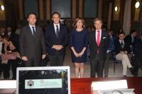 De izquierda a derecha, Ricardo Domínguez, José Carlos Gómez Villamandos, Julieta Mérida y Rafael Jordano
