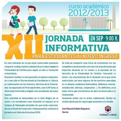 Jornada informativa para estudiantes de nuevo ingreso