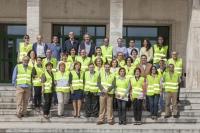 Integrantes de los equipos de emergencia de la Biblioteca