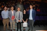 De izda. a dcha., Julio Camacho, Fernando Labella, Alfonso Zamorano, Marina de Cos y Álvaro Serrano, al inicio del encuentro