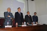 De izquierda a derecha, José María Casado, José Carlos Gómez, Rogelio Pérez-Bustamante y Antonio Bueno, en pie, durante los acordes del himno europeo al término del acto.