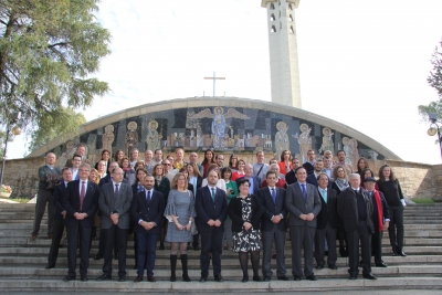 Foto de familia de autoridades asistentes al acto de la festividad del patrón de la Facultad de Ciencias