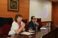 Mercedes Osuna y Luis Rodríguez en la inauguración de la muestra