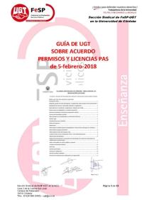 GUÍA DE UGT SOBRE ACUERDO PERMISOS Y LICENCIAS PAS de 5-febrero-2018