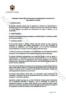 Acuerdo Calendario PAS 2021