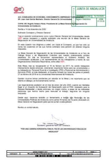 Solicitud de UGT-A al Consejero de Economía, Innovación y Conocimiento de Andalucía
