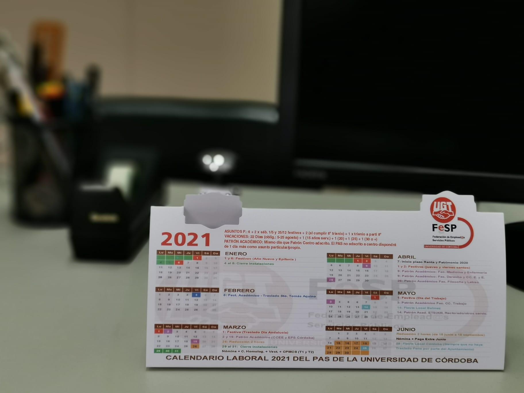 Calendario PAS 2021